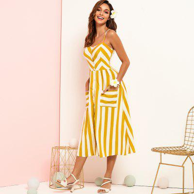 Summer Sweet Holiday Wind Sexy Color Stripe Thin Straps Large Size Dress