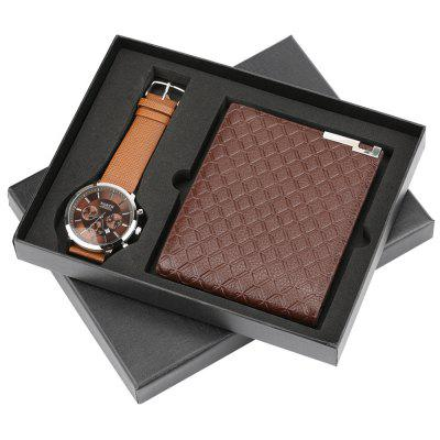 Fashion Creative Men's Gift Set Business Watch and Waist Bag