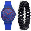 Fashion Creative Men'S Chronograph Rubber Quartz Wrist Watch Set - BLUE