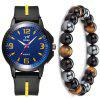 Men'S Creative Casual Chronograph Rubber Quartz Wrist Watch Set - YELLOW