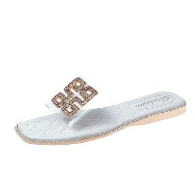Flat Base Transparent Metal Button Female Slippers