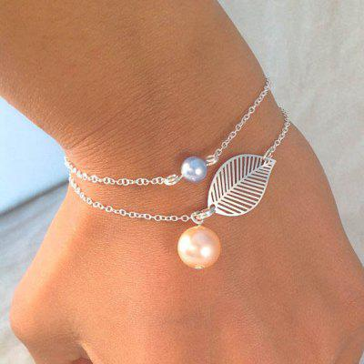 Gold Silver Color Chain With Pink Blue Beads Leaf Charm Bracelets 2PCS/Set
