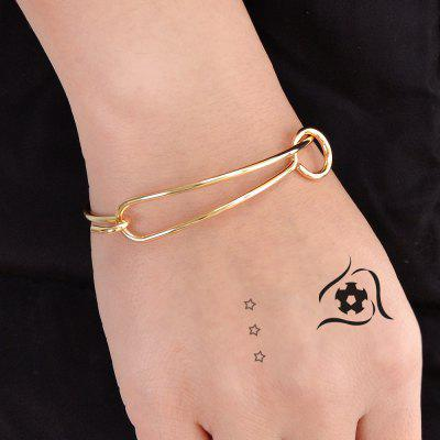 Gold Color Chain With Geometric Bangle
