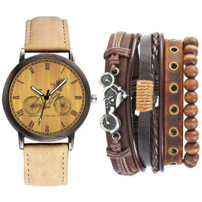 Mode Casual Heren Chronograaf Lederen Quartz Polshorloge Set