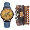 Fashion Casual Men'S Chronograph Leather Quartz Wrist Watch Set - DENIM BLUE