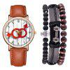 Casual Fashion Herren Chronograph Leder Quarz Armbanduhr Set - BRAUN
