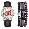 Casual Fashion Men'S Chronograph Leather Quartz Wrist Watch Set - BLACK EEL