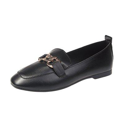 Spring Metal Buckle Flat Shallow Mouth Retro Small Square Head Shoes