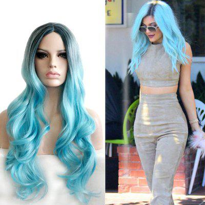 Fashionable Cosplay Central Parting Hair Style Gradient Ramp Long Wig