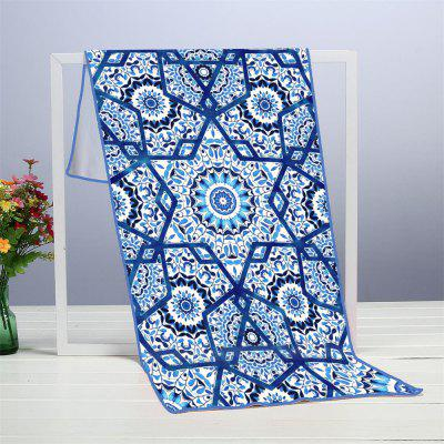 Blue Islamic Microfiber Digitally Printed Rectangular Beach Towel
