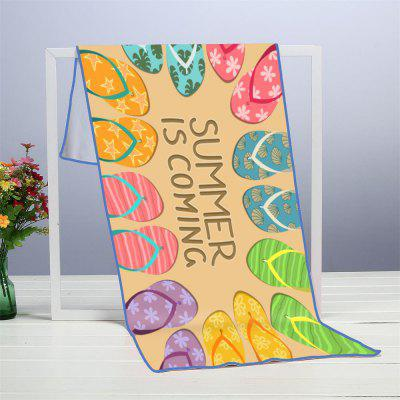 Letter Slippers Microfiber Digitally Printed Rectangular Beach Towel