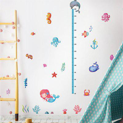 Seabed World Mermaid's Home Measure Height Gauge Sticker Bedroom Wall Decal