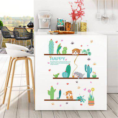 Green Potted Cactus Cartoon Cat Home Decoration Removable Sticker