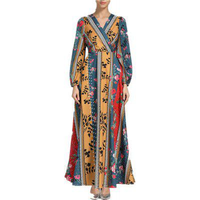 Women's Long-Sleeved Dress with National Flavor