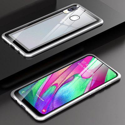Metal Frame Buckle Phone Cases Clear Tempered Glass for Samsung Galaxy A40