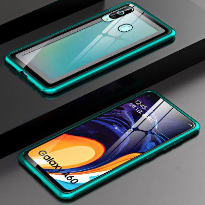 Metal Frame Buckle Phone Cases Vidro Temperado Clara para Samsung Galaxy A60