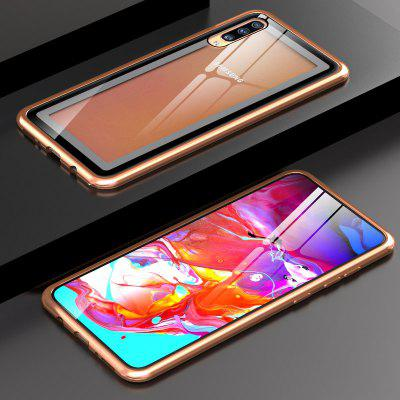 Metal Frame Buckle Phone Cases Clear Tempered Glass for Samsung Galaxy A70