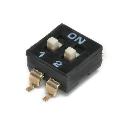 Black 2.54mm Pitch Double Row 4 Pin 2 Position Way SMD DIP Switch 5PCS