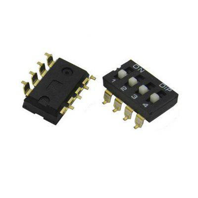 Preto 2,54mm Pitch Double Row 8 Pin 4 Positions IC Tipo DIP Switch 5 Pcs