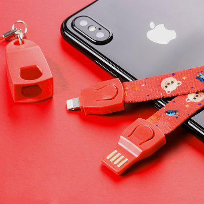 8 Pin Data Sync Cable Cartoon Bear Phone Charge Cable Strap Tape for iPhone
