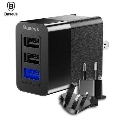 Baseus 3 Port USB Charger 3 in 1 EU US UK Plug 2.4A Adapter