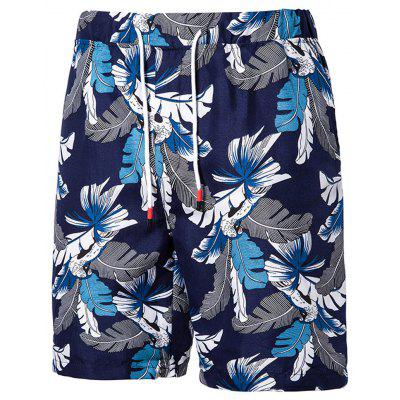 Men's  Summer Large Size Casual Print Five Points Beach Shorts