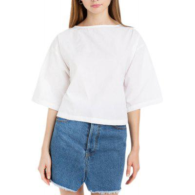 Fashion Solid Color Wild Trend Back Bow Decorative T-Shirt