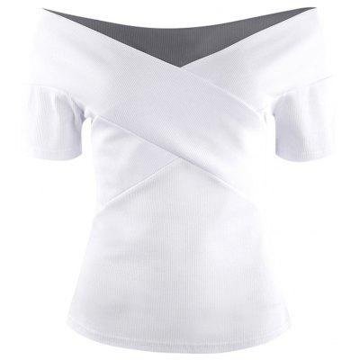 Simple Small Off-Shoulder Top Chest X-Shaped Design Sexy T-Shirt