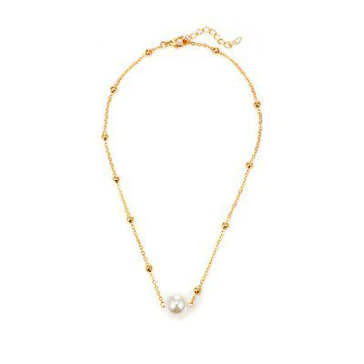 Simple Pearl Pendant Alloy Single Layer Clavicle Chain Necklace