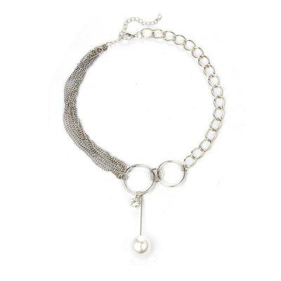 Multi-Layer Irregular Chain Ring Pearl Pendant Alloy Necklace
