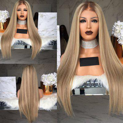 Gradient Ramp Central Parting Hair Style Smooth Straight Long Wig