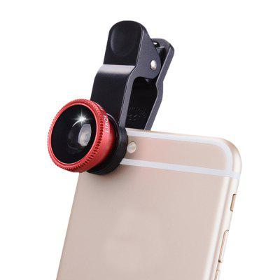 3 in1 Fish Eye Grand Angle Macro Camera Clip-on Lens Universel pour Téléphone Portable