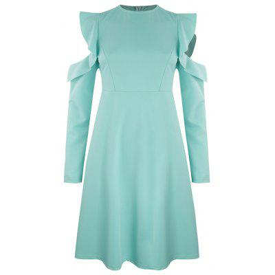 Fashion Personality Ruffled Off-The-Shoulder Round Neck Waist Dress