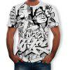 3D Summer Fashion Personality Pattern Print Men's Short-sleeved T-shirt - MULTI-A