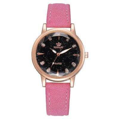 Women Leather Strap Starry Geometric Surface Roman Numeral Quartz Wrist Watches