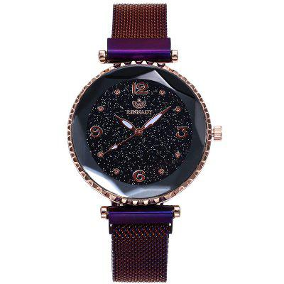 Casual Woman Magnet Buckle Starry Quartz Watch Geometric Surface Wristwatch