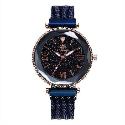 Woman Magnet Buckle Starry Casual Geometric Surface Quartz Watches