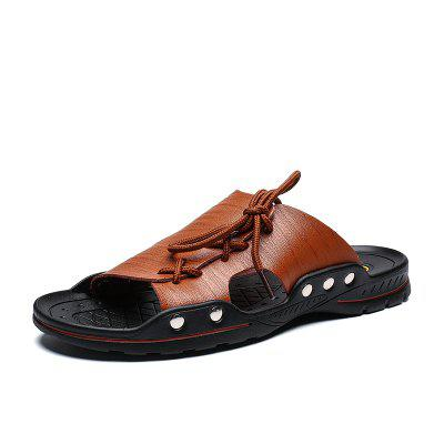 2019 Summer Man Casual Beach Sandals Shoes Microfiber Leather Slippers for Men