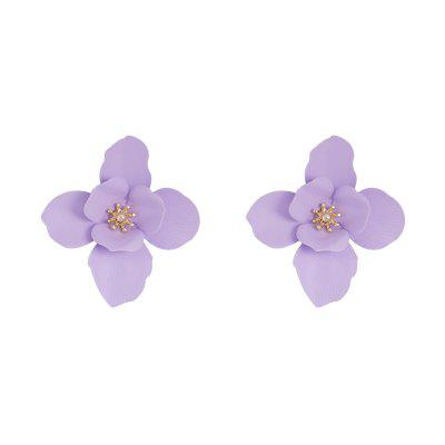 Candy Color Double-Layer Petal Simulation Flower Sweet Cute Alloy Earrings