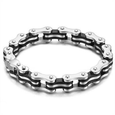 Masculine Mens Bike Chain Bracelet of Stainless Steel Silver