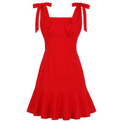 Condole Belt Lace-Up Solid Dress
