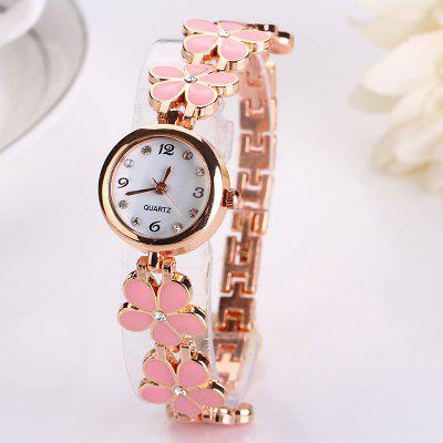 Luxury Beautiful Flower Women Fashion Bracelet Stainless Ladies Clock Watch