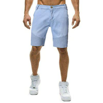 Men Pleated Jeans Solid Color Shorts