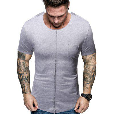 Men's Fashion Splicing And Polishing Spliced Short-Sleeved T-Shirt