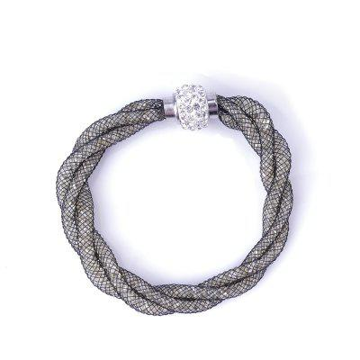Mesh Double Bracelets With Crystal Stones Filled Magnetic Clasp
