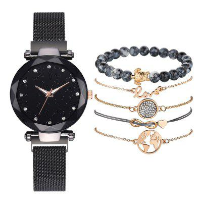 Couple'S Wrist Watch Quartz Creative Mesh Fashion Horloge Armband Set