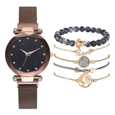 Relógio De Pulso De Quartzo De Quartzo Criativo Mesh Fashion Watch Bracelet Set