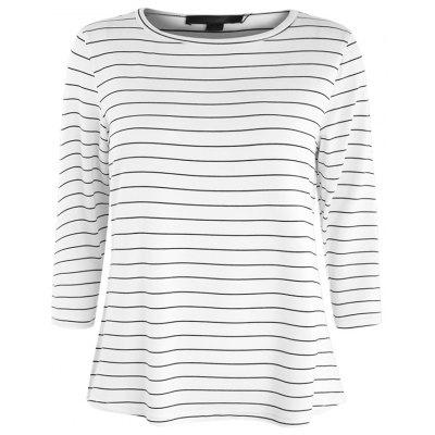 Classic Black and White Striped Slim Section Cropped Sleeve T-Shirt