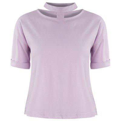Sweet Girl Style Neckline Openwork Pink Playful Easy To Match T-Shirt