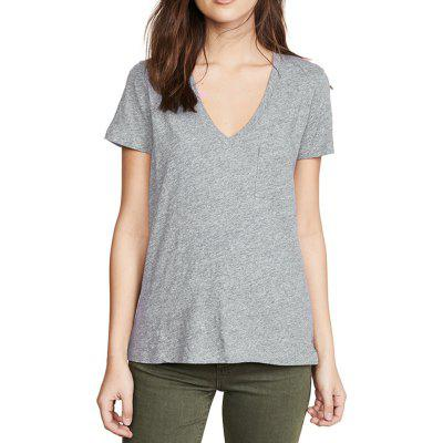 Simple Casual Cotton Deep V-Neck Patch Chest Strap Short-Sleeved T-Shirt